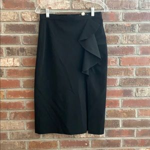 Pencil skirt with ruffle and a slit